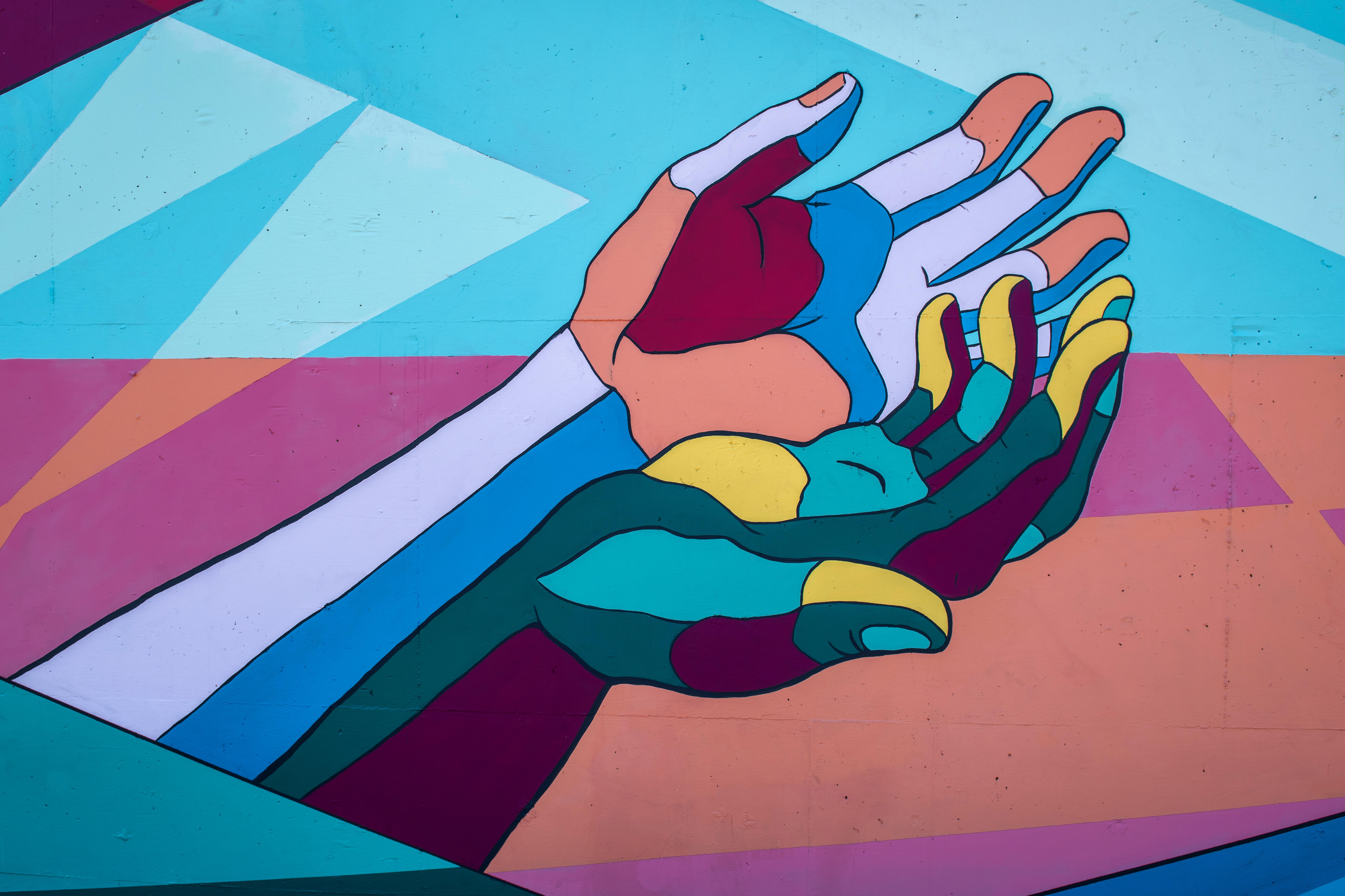 Streetart Hände Bunt